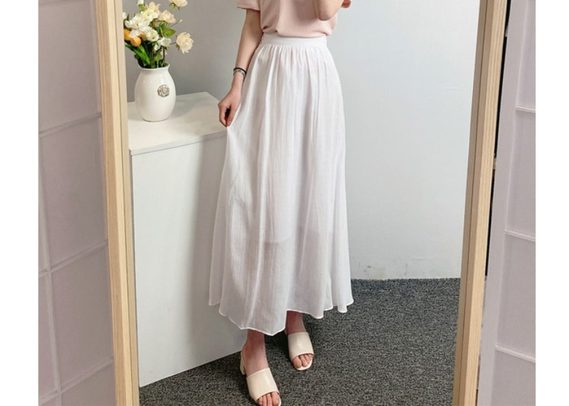 be-witch-A라인 린넨 밴딩 롱스커트♡韓國女裝裙