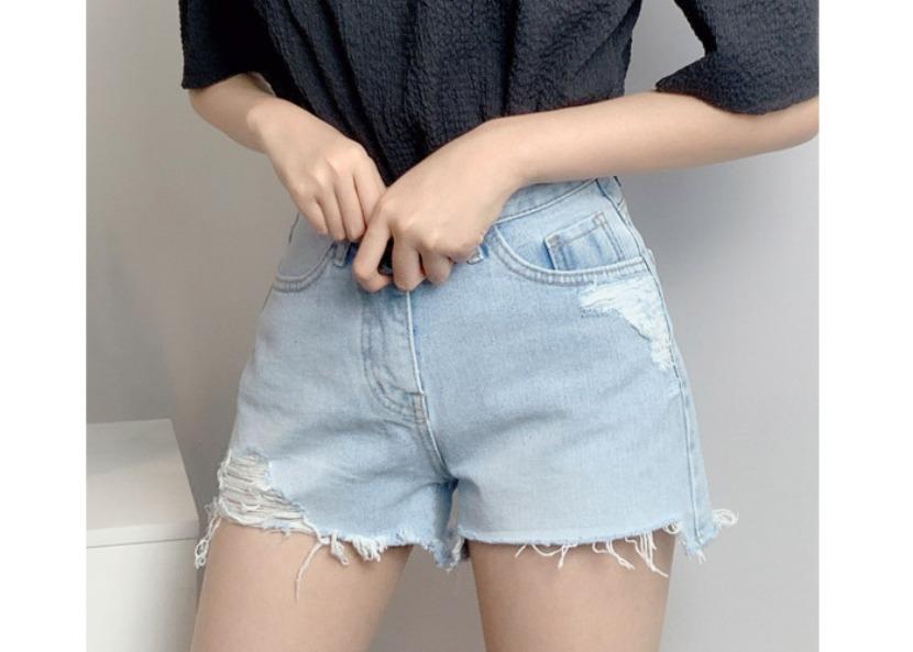 be-witch-연청 빈티지 구제 컷팅 데님 숏팬츠♡韓國女裝褲