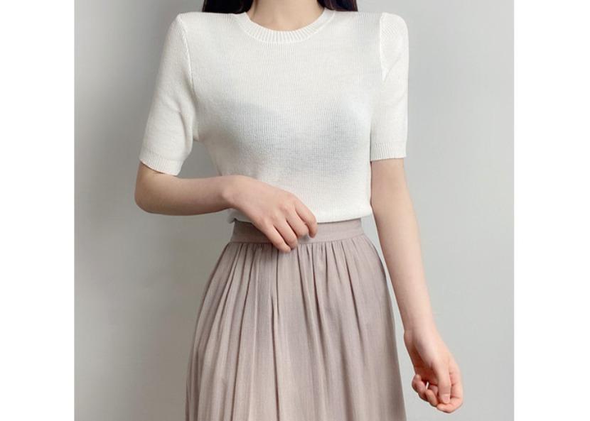 be-witch-라운드 숄더 반팔 니트 티셔츠♡韓國女裝上衣