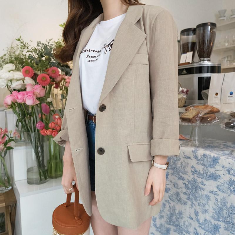 attrangs-jk938 브랜드제작방식으로 제작된 소매단추 포인트 린넨자켓 jacket♡韓國女裝外套