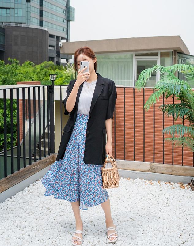 loloten-밸리 꽃나염스커트♡韓國女裝裙