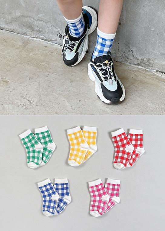 styleggom-체크맛 삭스 (5종세트)♡童裝飾品