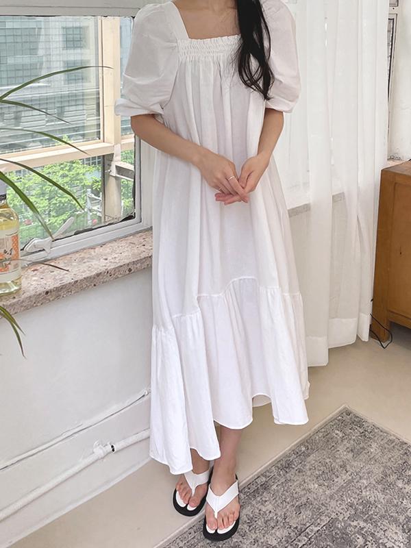 hellosweety-[썸머 퍼프 롱원피스]♡韓國女裝連身裙