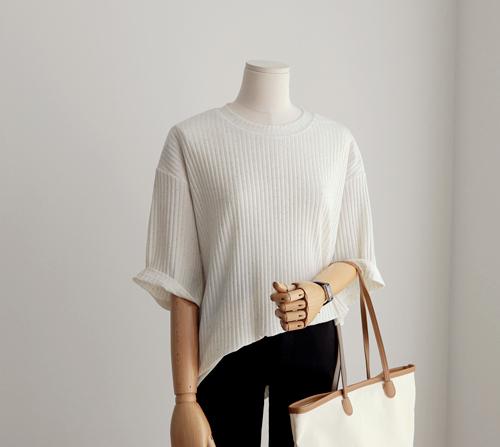 beige blanc-르네 린넨 골지 라운드 니트 티셔츠]♡韓國女裝上衣