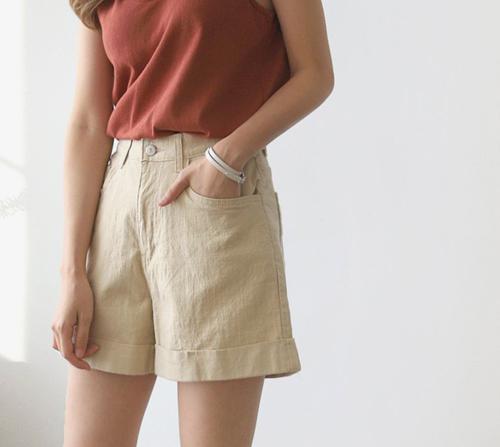beige blanc-날씬벅지 여유핏 4부 밴딩 카브라 코튼 팬츠]♡韓國女裝褲