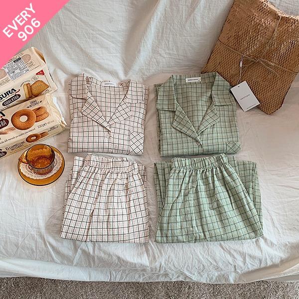 906studio-[EVERY906/남녀공용] 선데이모닝 파자마세트♡韓國女裝睡衣套裝