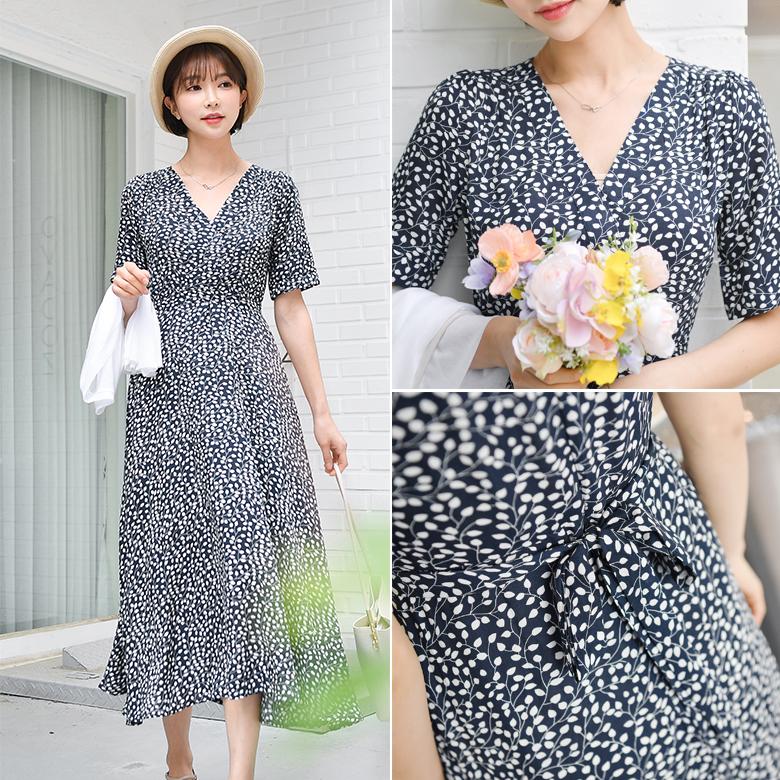 midasb-[플로 나염 랩 원피스]♡韓國女裝連身裙