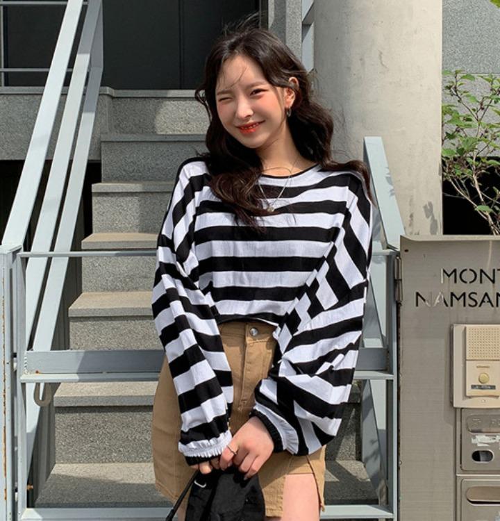 merongshop-[무료배송] 크로쉐 퍼프 단가라 티셔츠 - 4 color♡韓國女裝上衣