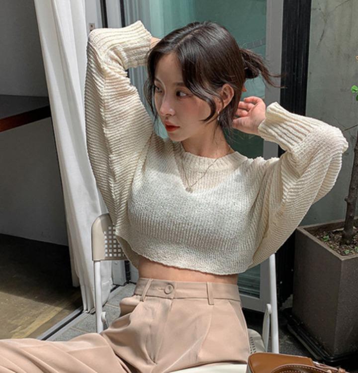 merongshop-[무료배송] 웨이 부클 크롭 니트 - 5 color♡韓國女裝上衣