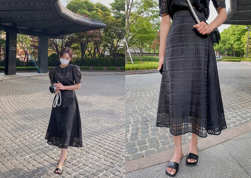 maybins-올픈 체크 롱 스커트♡韓國女裝裙