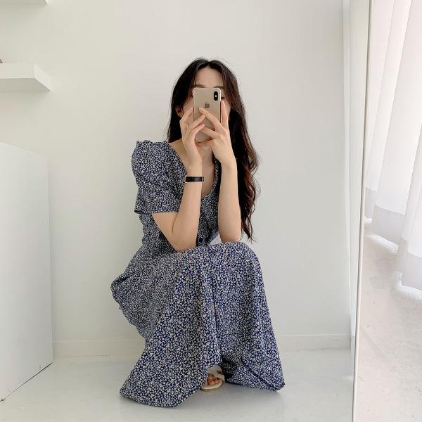 realcoco-[REALPRICE 20%] 칸버튼 셔링 롱원피스(35,000→21,600won) (데이트룩/봄)♡韓國女裝連身裙
