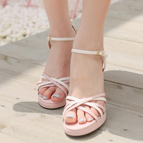 ode-[배색 라인 스트랩 힐]♡韓國女裝鞋
