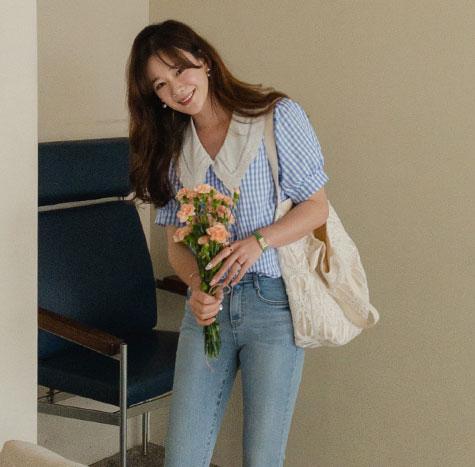 leelin-[키슨미 깅엄체크 레이스 카라 블라우스[size:F(55~66)]]♡韓國女裝上衣