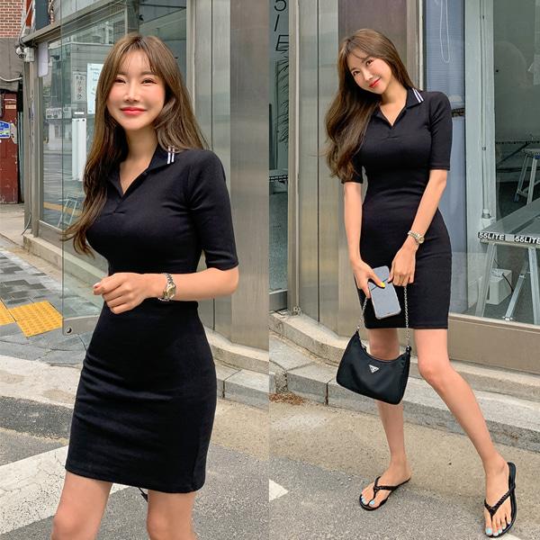 planj-카라 반팔 원피스♡韓國女裝連身裙