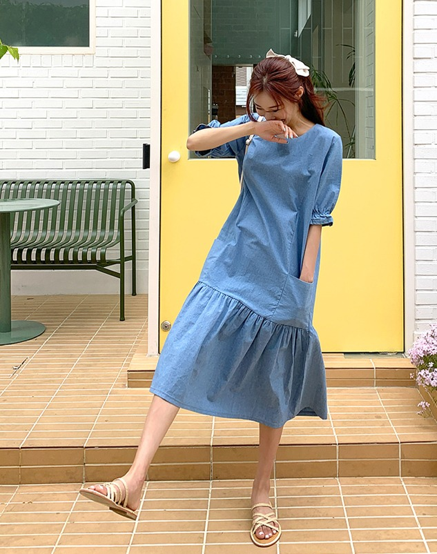loloten-커넨 데님 프릴 롱 원피스♡韓國女裝連身裙