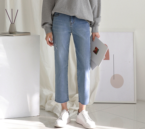 beige blanc-연청 일자핏 8.5부 데님 팬츠]♡韓國女裝褲