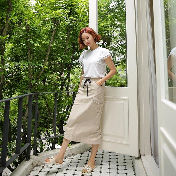 lemite-카고 스커트(허리밴딩)♡韓國女裝裙