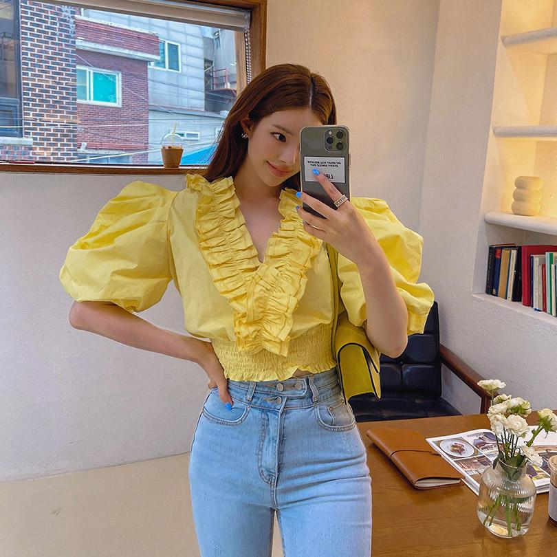 liphop-[프릴스모크블라우스]♡韓國女裝上衣