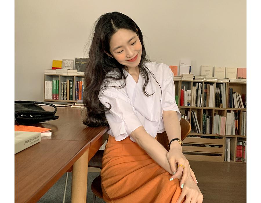 frombeginning-드레이프 퍼프반팔블라우스 (3color)♡韓國女裝上衣