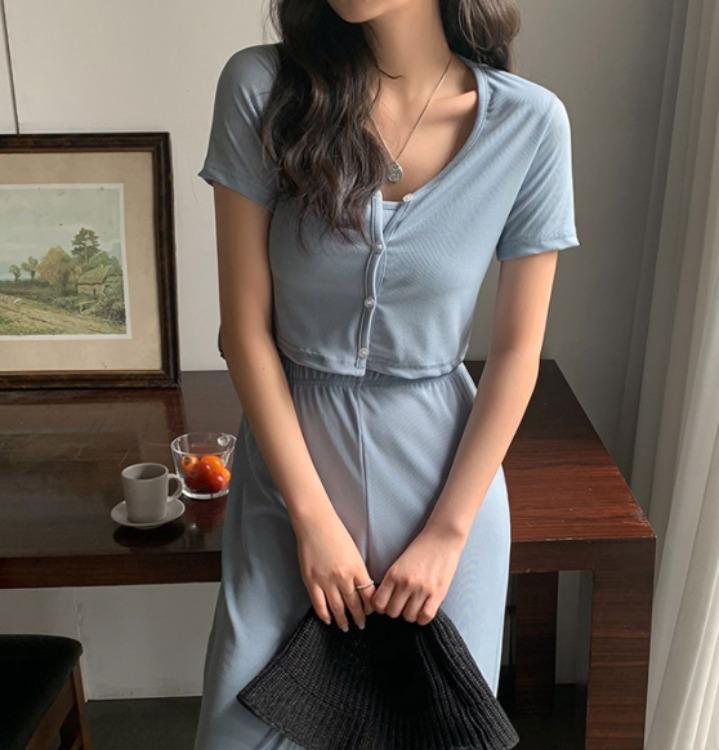 merongshop-[무료배송] 스판 와이드 크롭 트레이닝 세트 - 3 color♡韓國女裝套裝