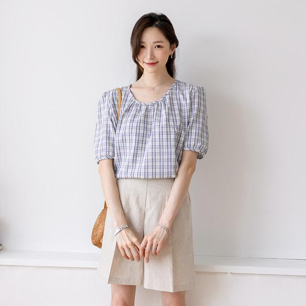 misscandy-[no.20420 퍼프소매 엠보 체크블라우스]♡韓國女裝上衣