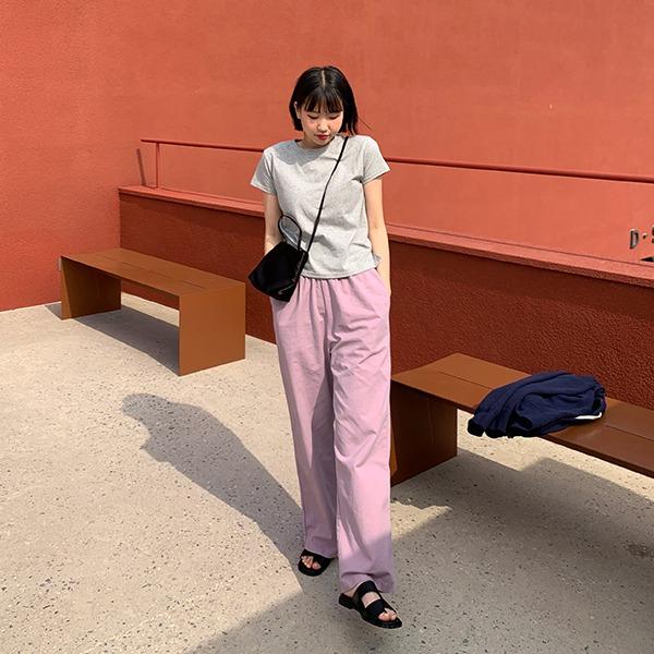 906studio-럼블 밴딩코튼팬츠♡韓國女裝褲