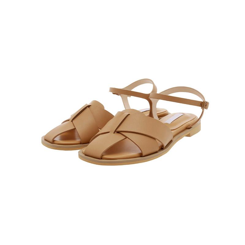 attrangs-sh2292 트렌디한 꼬임 스트랩 디자인의 레더 플랫 샌들 shoes♡韓國女裝鞋