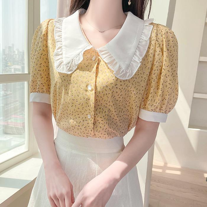 myfiona-레디플라워 카라 블라우스 a1485 - 러블리 로맨틱 1위 쇼핑몰 피오나♡韓國女裝上衣