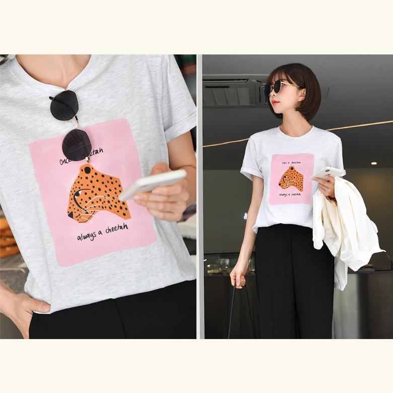 midasb-[오일 치타 레터링 티셔츠]♡韓國女裝上衣