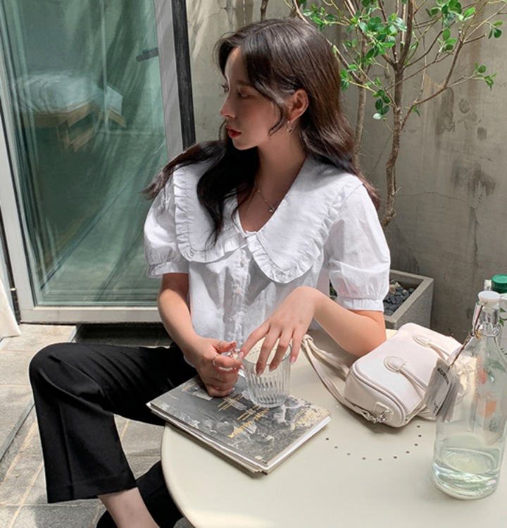 merongshop-[무료배송] 머드 카라 크롭 블라우스 - 2 color♡韓國女裝上衣