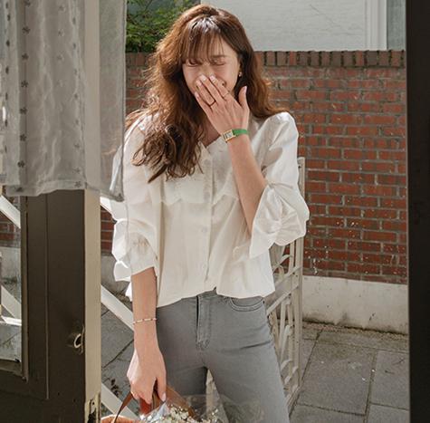 leelin-[트위닝 브이넥 잔 프릴 블라우스[size:F(55~66반)]]♡韓國女裝上衣