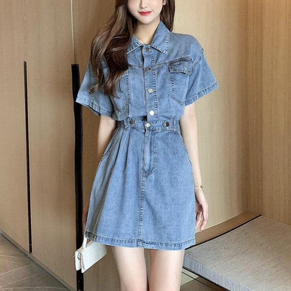 fashion-full-르벤 반팔 데님 원피스(TIME SALE 20%)♡韓國女裝連身裙