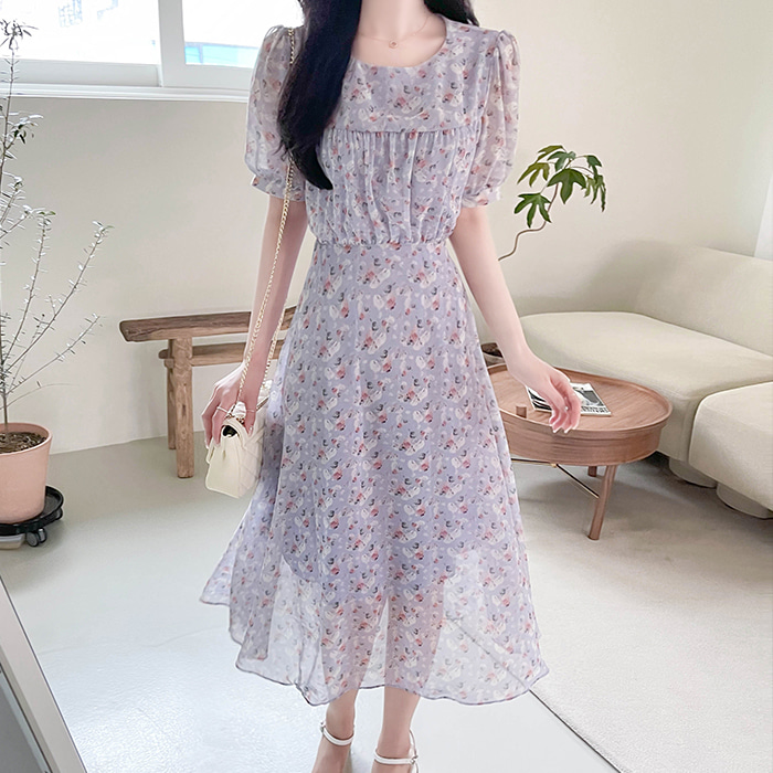 myfiona-시어셔링 플라워 쉬폰원피스 a1496 - 러블리 로맨틱 1위 쇼핑몰 피오나♡韓國女裝連身裙