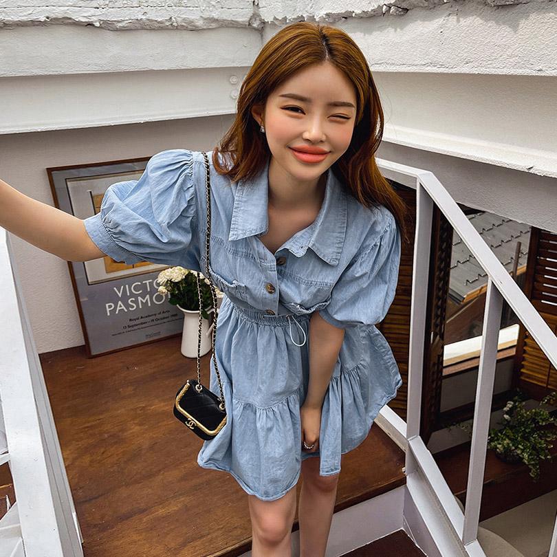 liphop-[퍼프데님스커트세트]♡韓國女裝套裝