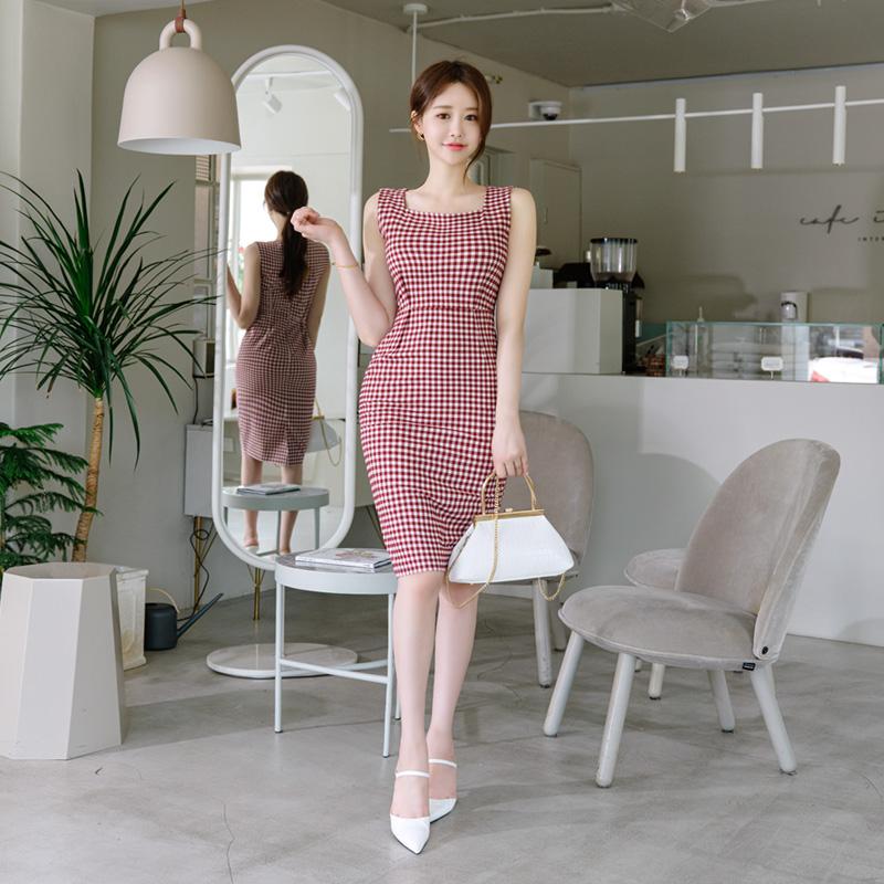 attrangs-op9268 고급스러우면서 상큼한 스퀘어넥 고방 체크 원피스 dress♡韓國女裝連身裙