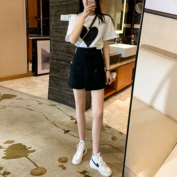 fashion-full-하트 반팔 티 & 치마 바지 SET (TIME SALE 30%)♡韓國女裝套裝