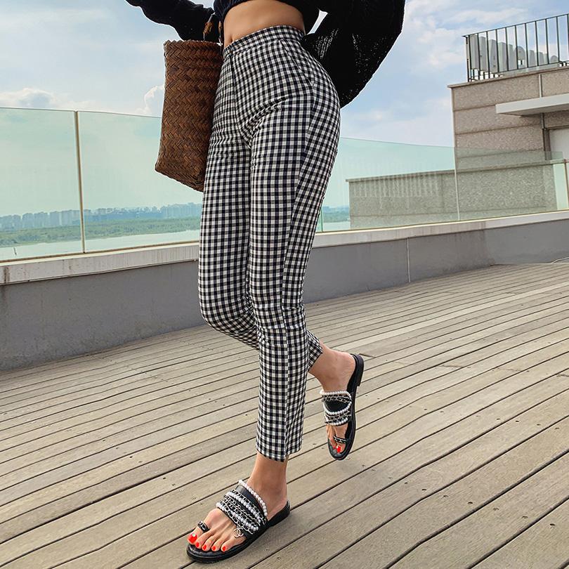 liphop-[스판체크팬츠]♡韓國女裝褲