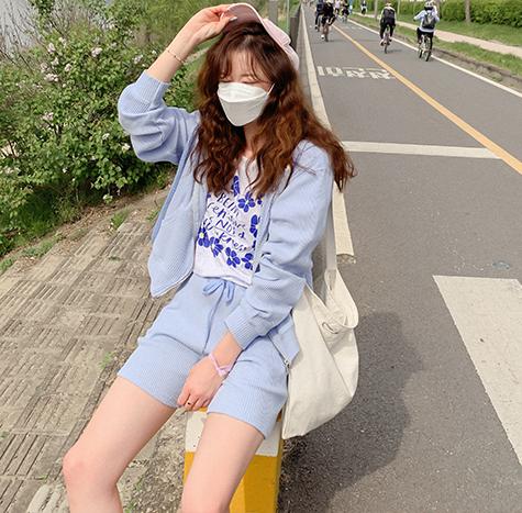 leelin-[포카리 썸머 와플골지 후드팬츠 세트[size:F(55~77)] ]♡韓國女裝套裝