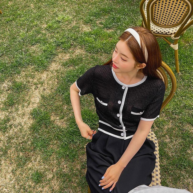 liphop-[배색반팔가디건]♡韓國女裝外套