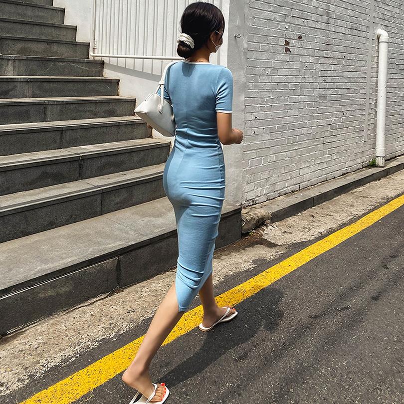 liphop-[슬림배색롱원피스]♡韓國女裝連身裙