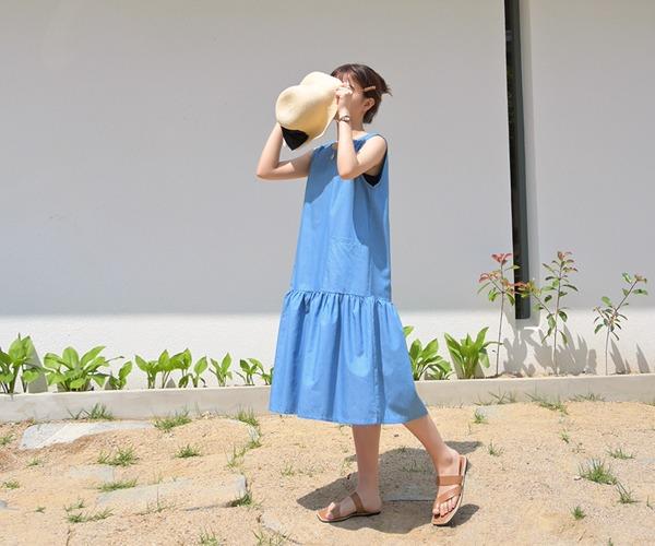 DailyN-리즈 프릴 롱 데님 원피스♡韓國女裝連身裙