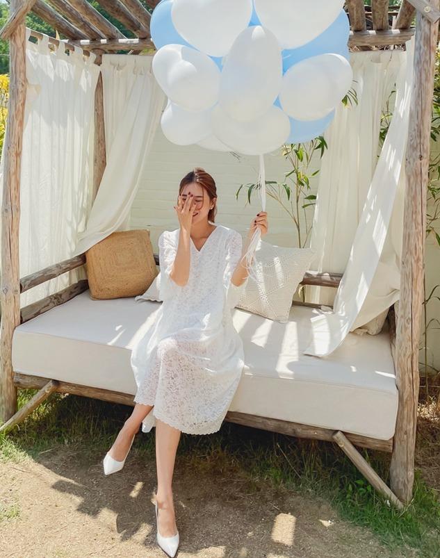 loloten-스칼럽 레이스 반팔 원피스♡韓國女裝連身裙