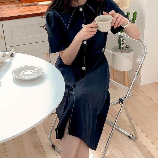 realcoco-♥NEW10%할인♥세일러 카라 린넨 롱원피스(나들이룩/데이트룩)♡韓國女裝連身裙