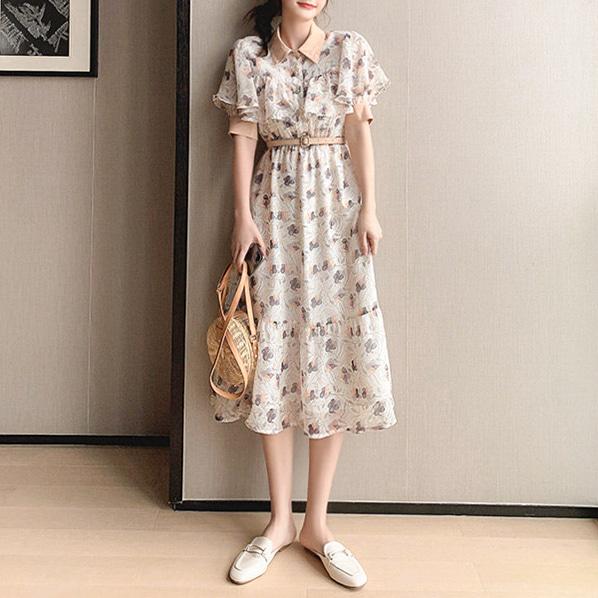 fashion-full-우벤 플라워 롱 원피스 & 벨트 SET (TIME SALE 20%)♡韓國女裝連身裙