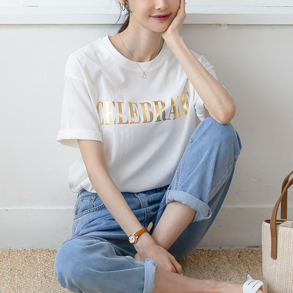 misscandy-[no.20424 영문패치 내추럴핏 티셔츠]♡韓國女裝上衣