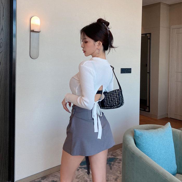 hypnotic-[백반전크롭카라 티셔츠]♡韓國女裝上衣