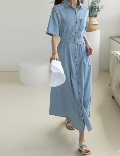 indibrand-반팔 데님 롱 원피스 (수입)♡韓國女裝連身裙