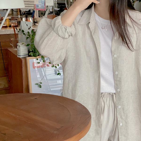 realcoco-♥NEW10%할인♥비코 스트라이프 린넨 셔츠(데일리)♡韓國女裝上衣