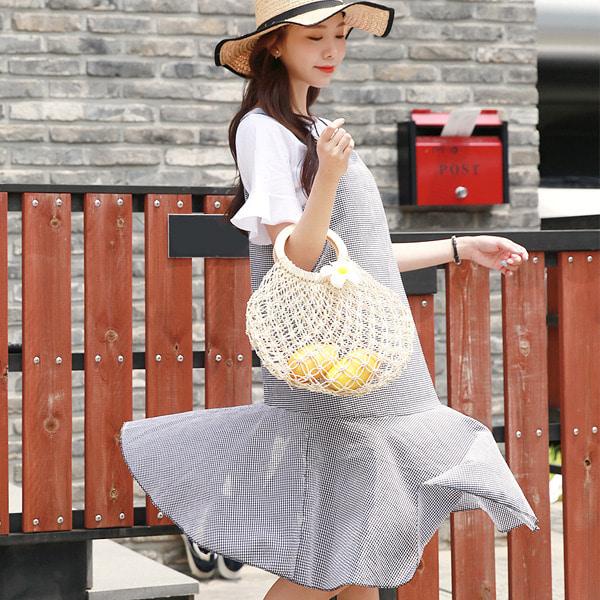 shehj-[프릴 티셔츠& 고방 체크 원피스 세트]♡韓國女裝連身裙套裝