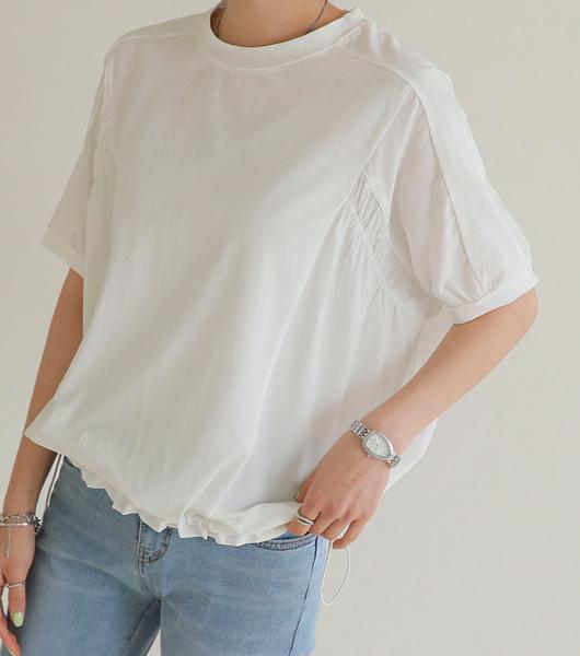 roompacker-룸페커 [헤이 배색 스트링 반팔탑]♡韓國女裝上衣